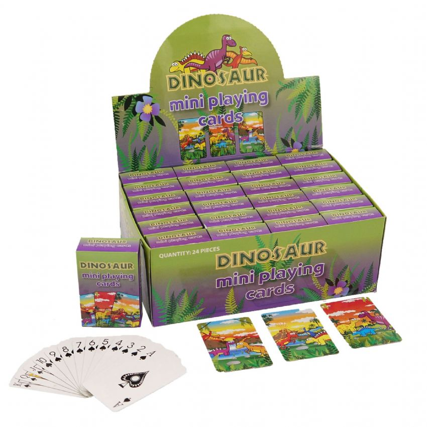 24 x Packs Of Dinosaur Themed Mini Playing Cards - Wholesale Bulk Buy Party Bag Fillers
